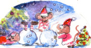 Christmas Eve Drawings Originals - Making a Snow Mouse by Mindy Newman