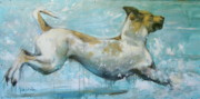 Dog Art Paintings - Making Waves by Mary Leslie