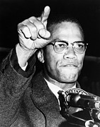 Malcom X Framed Prints - Malcolm X (1925-1965) Framed Print by Granger