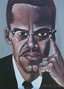 Malcolm X Painting Prints - Malcolm X  Print by Steven Jones
