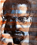 Portrait Paintings - MalcolmX by Paul Lovering