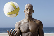 Young Man Posters - Male Beach Volleyball Poster by Patrik Giardino