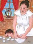 Making Pastels - Mama Making Tortillas by Dolores Aragon