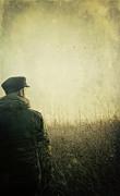 Man Alone In Autumn Field Print by Sandra Cunningham
