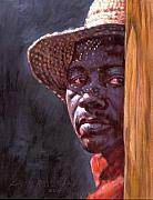 Black Man Painting Prints - Man In Straw Hat Print by John Lautermilch