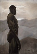 Figure Study Pastels Prints - Man Looking at Sunset Print by L Cooper
