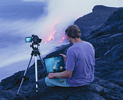 Hawai Prints - Man Taking Photographs Of A Lava Flow Print by G. Brad Lewis