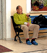 Man On Bench Prints - Man With Blue Shoes Print by Curtis Chapline