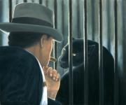 Cage Paintings - Man with Cigar by Lance Anderson
