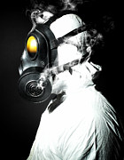 Gas Mask Posters - Man With Gas Mask Poster by Gualtiero Boffi