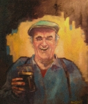 Suspenders Painting Posters - Man with pint. Poster by Kevin McKrell