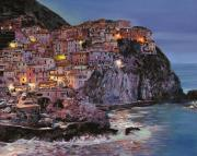 Oil On Canvas Framed Prints - Manarola at dusk Framed Print by Guido Borelli