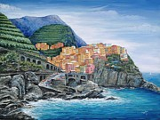 Wine Painting Originals - Manarola Cinque Terre Italy by Marilyn Dunlap