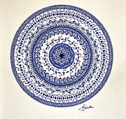 Blue Flowers Drawings - Mandala by Sylvie Leandre
