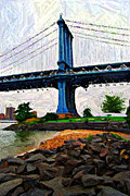 Nyc Digital Art Metal Prints - Manhattan Bridge Beach Sketch Metal Print by Randy Aveille