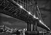 America Photos - Manhattan Bridge Frames The Brooklyn Bridge by Susan Candelario