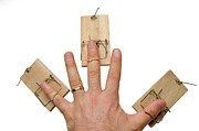 Mousetrap Framed Prints - Mans hand with three mousetraps on fingers Framed Print by Sami Sarkis