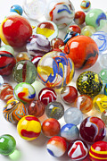 Round Framed Prints - Many beautiful marbles Framed Print by Garry Gay