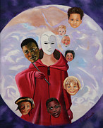 Visionary Art Paintings - Many Masks of God by Joyce Small