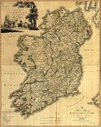 Ulster Framed Prints - Map Of Ireland From 18th Century Framed Print by Everett
