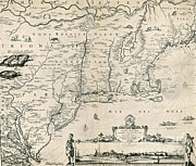 Jansson Prints - Map Of New Netherland, 1650s Print by Photo Researchers