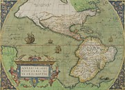 Pirate Ship Drawings Prints - Map of North and South America Print by Abraham Ortelius
