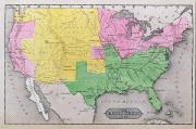American School; (19th Century) Framed Prints - Map of the United States Framed Print by John Warner Barber and Henry Hare