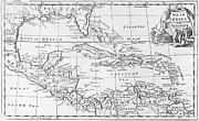 Old West Drawings Prints - Map of the West Indies Florida and South America Print by English School