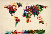 {geography} Prints - Map of the World Map Abstract Painting Print by Michael Tompsett