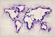 Country Art Digital Art Prints - Map of the World Paint Splashes Print by Michael Tompsett