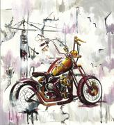 Industrial Drawings Metal Prints - Mapped Motorcycle Metal Print by Lauren Penha