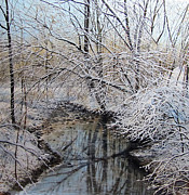 Snowy Stream Paintings - March Snow by David Bottini