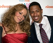Mariah Carey Prints - Mariah Carey, Nick Cannon At A Public Print by Everett
