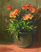 Green Prints Painting Framed Prints - Marigolds Framed Print by Linda Jacobus