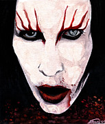 Gothic Mixed Media Posters - Marilyn Manson Portrait Poster by Alban Dizdari