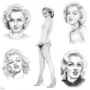 Actress Drawings Framed Prints - Marilyn Monroe Framed Print by Murphy Elliott