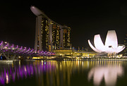 Nightlights Prints - Marina Bay Sands Hotel and ArtScience Museum in Singapore Print by Zoe Ferrie