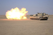 Iraq Conflict Prints - Marines Fire Their M1a1 Abrams Tank Print by Stocktrek Images