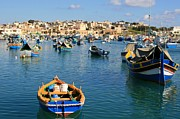 Maltese Photos - Marsaxlokk Harbour Malta by David Gardener