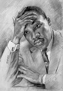 Martin Luther King Jr Drawings Prints - Martin Luther King Jr Print by Ylli Haruni