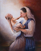 Child Jesus Paintings - Mary and Jesus by Cheryl Allen