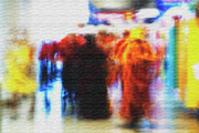 Puerto Rico Digital Art Originals - Masked Spirit Dancers At San Juan Airport by Frank Feliciano