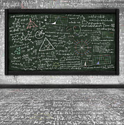 Chalkboard Art - Maths Formula On Chalkboard by Setsiri Silapasuwanchai