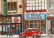 Hockey Painting Prints - Mcleans Irish Pub Montreal Print by Carole Spandau