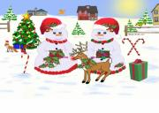Fox Digital Art - Meadow Snowmen - Deck The Boughs by Madeline  Allen - SmudgeArt