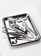 Scissors Posters - Medical Equipment On A Tray Poster by Tek Image