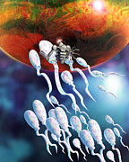 Selecting Framed Prints - Medical Nanorobot On Sperm Cell Framed Print by Victor Habbick Visions