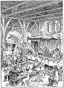Servant Prints - Medieval Dining Hall Print by Granger