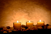 Pebbles Photos - Meditation Candles by Olivier Le Queinec