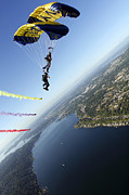 Seahawks Posters - Members Of The U.s. Navy Parachute Poster by Stocktrek Images